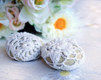 Two Crochet Free Form Lace Sea Stones OOAK Wedding Dcoration, Party Decoration, Home Decor, Table Decor, Rustic Wedding