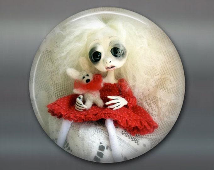 "3.5"" gothic doll fridge magnet, large magnet, kitchen decor, gothic art decor, stocking stuffer gift for her MA-AD27"