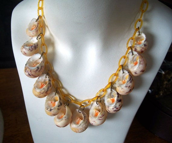 Vintage Celluloid Chain Necklace Dangling Sea Shells 1930's