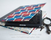 Retro Chevron Vintage 1970s Book Ipad Cover, Red and Blue, Fits Ipad perfectly, FREE SHIPPING