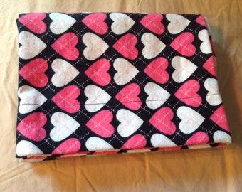 Argyle Hearts Flannel Pillowcase