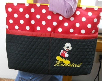 Mickey Mouse / Extra LARGE Tote Bag / Red Polka Dot / Black /  Name or MONOGRAM /  Embroidery / Extra Large / Diaper Bag / Minnie Mouse