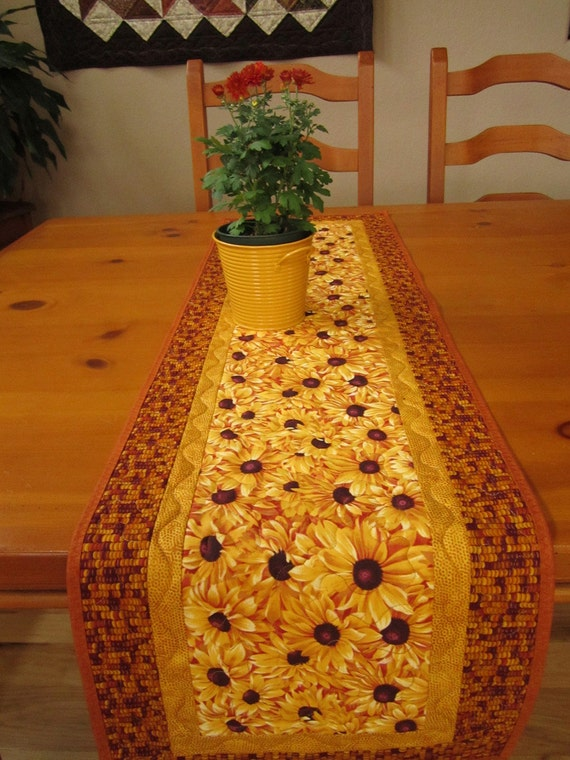 Quilted Table Runner Golden Flowers