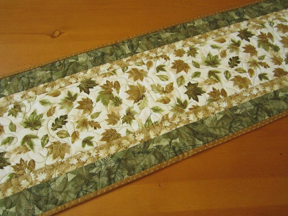 Table Runner, Gold and Green Leaves Quilted Table Runner,  Fall Table Runner, Autumn Table Runner,
