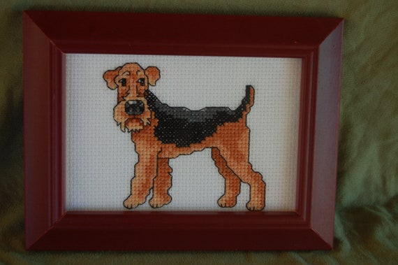 COMPLETED CROSS STITCH - Airedale Terrier