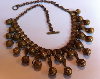 Vintage Brass Book Chain Bell Necklace