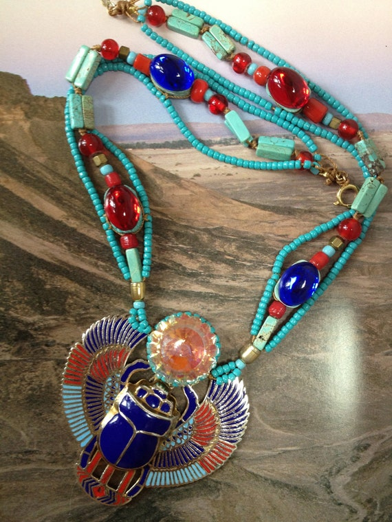 Jeweled Egyptian Scarab Necklace