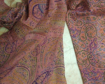 Beautiful  Paisley/Floral  Print Scarf,  Recycled Sari Pure Silk Scarf (21x70)
