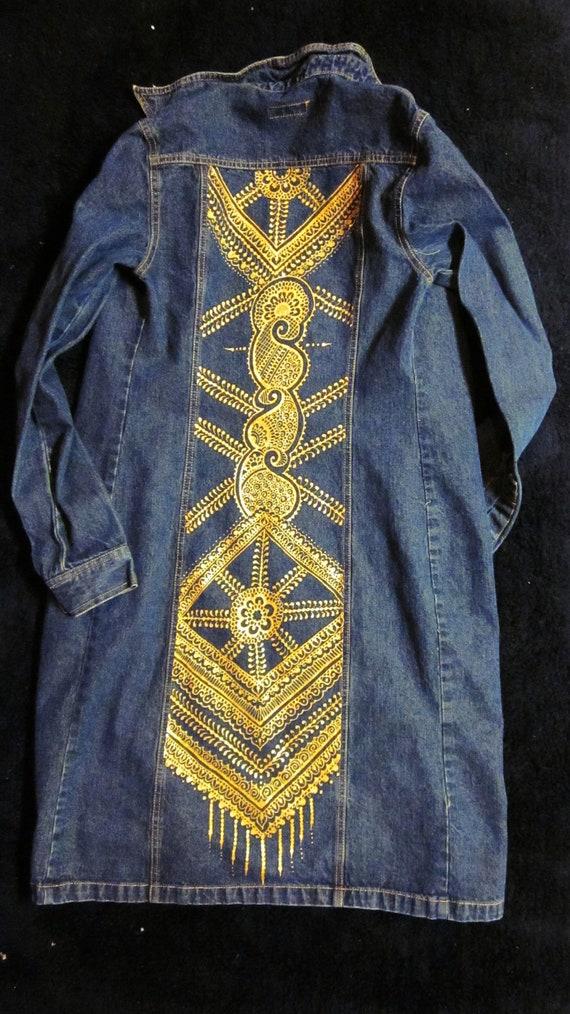 ONYX FRIDAY item ----Henna Mehndi gold painted denim duster, size 4