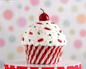 Cupcake Ornament / Christmas Ornament - Swirly Stripe Cupcake #CUP127