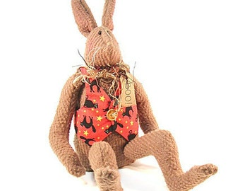 Rabbit Doll, Bunny Doll, Doll, Brown, Hare, Rabbit, Autumn, Thanksgiving, Halloween, Bunny Rabbit, Bunny, Orange, Yellow, Primitive