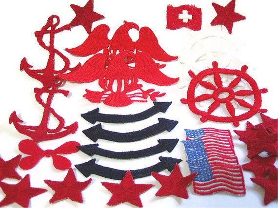 Nautical Appliques, Millitary, USA Applique, Embroidered, Red Stars, Blue, White, Patch, Lot of 31, Anchor, Eagle, American Flag, Navy