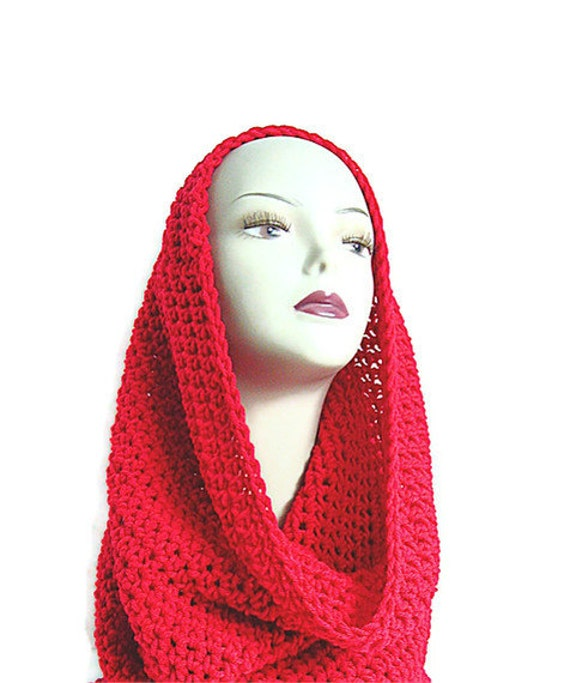 Red Neckwarmer, Red Cowl, Christmas Red, Red Scarf, Red Hood, Cherry Red, Scarlet, Infinity, Hood, Crimson, Apple Red, Cherry Red, Red
