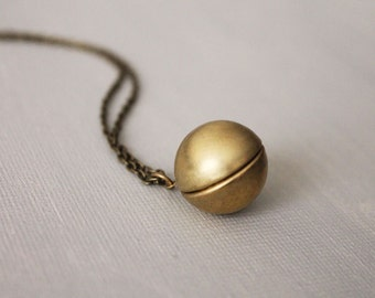 Simple Brass Ball Locket Necklace. simple style ball locket in long chain