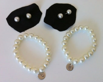 2 Bridesmaid pearl stud and initial bracelet gift sets