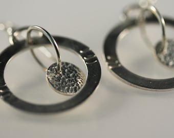 Sterling Silver hoop and disk earrings