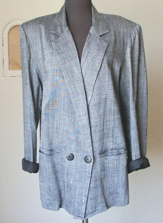 Vintage 80's Blazer, Slouchy, Boyfriend Style, Gray,  Black and White Tweed, Menswear, Womens Medium