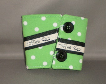 Coffee Cuff - Reusable Coffee Cup Sleeve - Coffee Cozy - Green and White Polka Dot