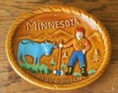 Cute Vintage Paul Bunyan Minnesota Souvenir Ceramic Dish