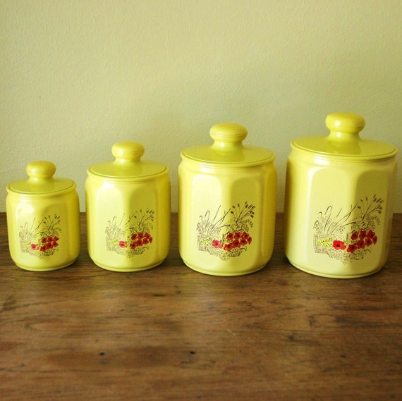 vintage set of 4 kromex kitchen canisters yellow aluminum usa
