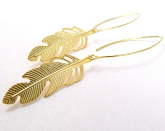 Gold Feather Earrings, Feather of Flight