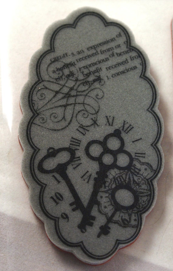Roman numerals, numbers and skeleton keys with definition and oval frame  - Repositionable CLiNG Rubber Stamp