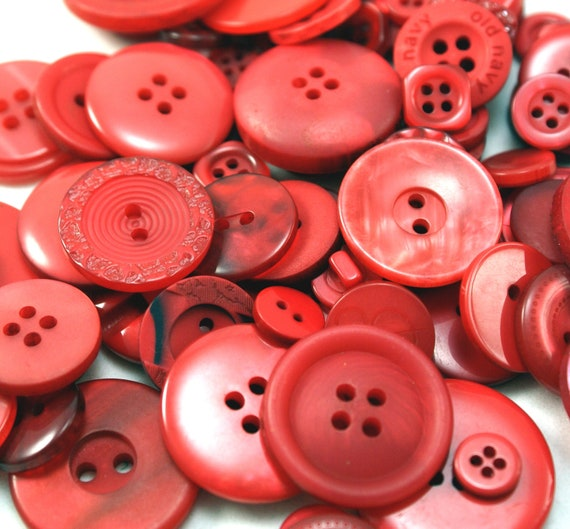 CANDY APPLE RED MiX - 2 ounces of Crafting and Sewing Buttons, Various sizes - approx. 100-200 pieces
