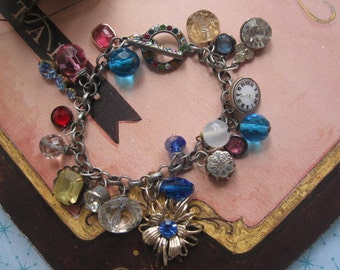 Rich Colored Jewels.vintage jewelry assemblage charm bracelet