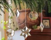 Mini Clear Geometric Beveled Stained Glass Suncatchers Tree Ornaments - Set of 5