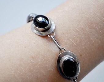 Vintage Modernist Sterling Onyx Bracelet