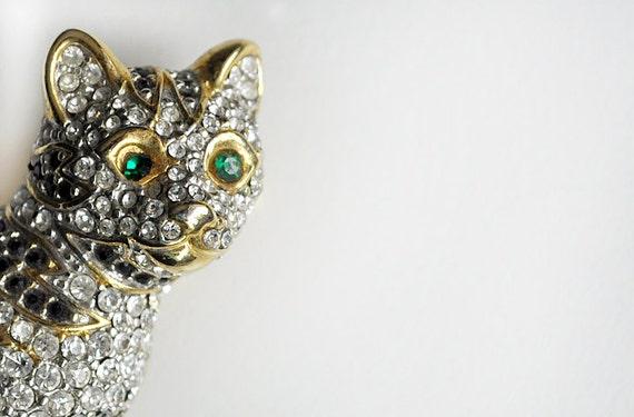Vintage Rhinestone Encrusted Cat Brooch