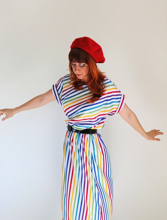 Sale - Vintage 1970s Rainbow Stripes Dress. Office. Summer. Fall Fashion. Back To School. Hipster. Size Large