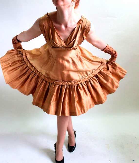 Vintage 1950s Copper Party Dress. Prom Dress. Mad Men Fashion. Weddings