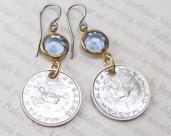Hungary, Authentic Coin Earrings --- Peace Dove --- World Peace - World Travel - European Tour - Wanderlust - Be a Traveler - Recycled