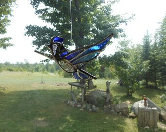 lg. 3-D Bluejay Stained glass suncatcher