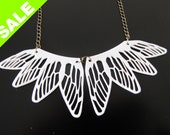 White DRAGONFLY wings necklace