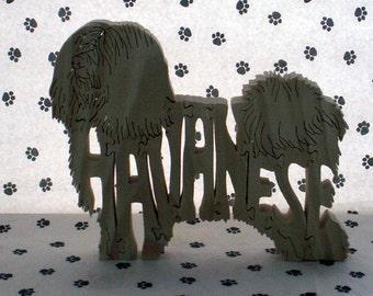 Havanese Fretwork Jigsaw Puzzle Wood Dog