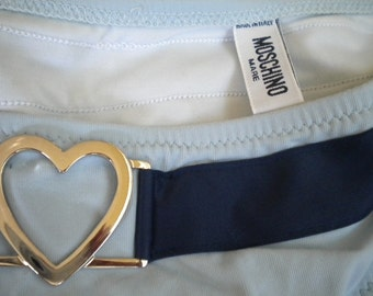 Silver Heart Baby Blue and Navy MOSCHINO Vintage Bikini Bottoms
