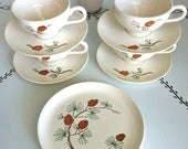 vintage pinecone stoneware, 4 teacups and saucers, 4 plates
