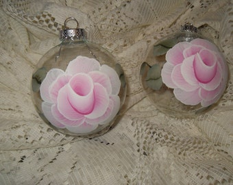 Victorian Light Pink Rose Hand Painted Christmas Ornament Shabby Cottage Chic New