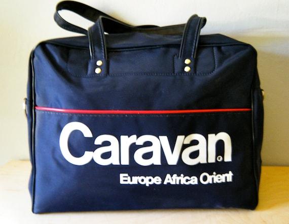 "Vintage ""Caravan"" Carry On - Airline -Travel Bag, Navy Blue, White Helvetica Lettering, Red Stripe"
