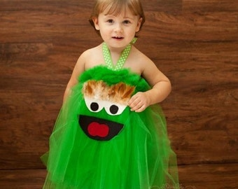 Oscar the Grouch Inspired Costume Tutu Dress for Halloween or dress up or birthday