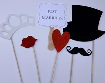 Just Married Wedding Photo Booth Prop Set 6 piece set DIY KIT
