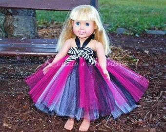 "Hot Pink Zebra Empire Waist Tutu Dress - Fits American Girl Dolls and other 18"" Dolls"
