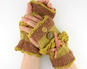 Knit fingerless gloves arm warmers fingerless mittens mustard brown tweed lace fall autumn victorian