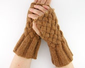 cable knit fingerless gloves brown knit fingerless mittens wrists warmers peanut butter brown fall  fashion hand warmers teamt tagt team
