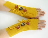 Fingerless gloves Fingerless mittens arm warmers arm cuffs in mustard saffron yellow eco friendly recycled wool