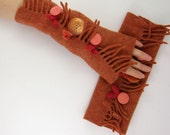 felted fingerless gloves wrists warmers eco friendly arm warmers fingerless mittens arm cuffs rusty orange recycled wool fringes
