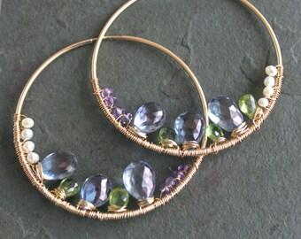 May My Love Iolite Peridot Amethyst Pearl 14 kt Gold Hoops