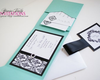 Wedding Invitation Sample - Custom Deluxe Damask Pocket folder Suite in Turquoise and Black and White or your colors